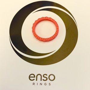 Enso Slanted Brick Stackable Silicone Ring Coral 6